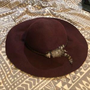 Maroon billabong floppy flat brim hat